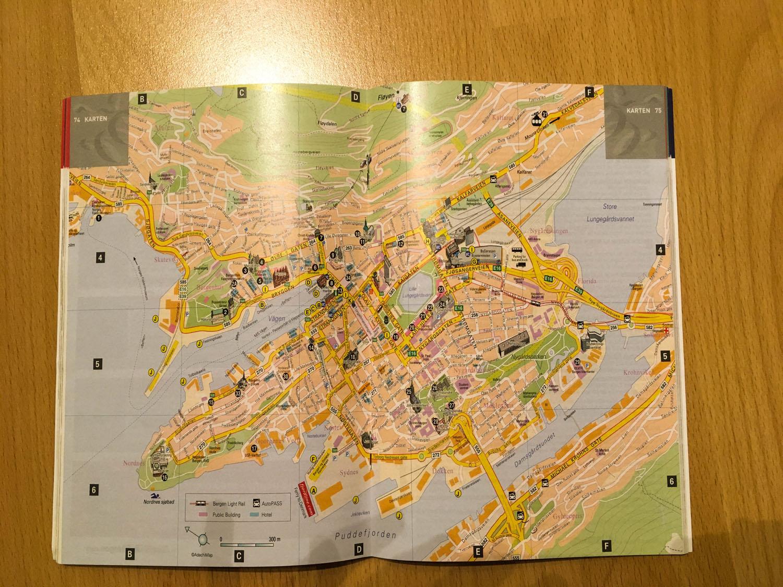 Karte von Bergen im Fjord Norwegen Reiseguide