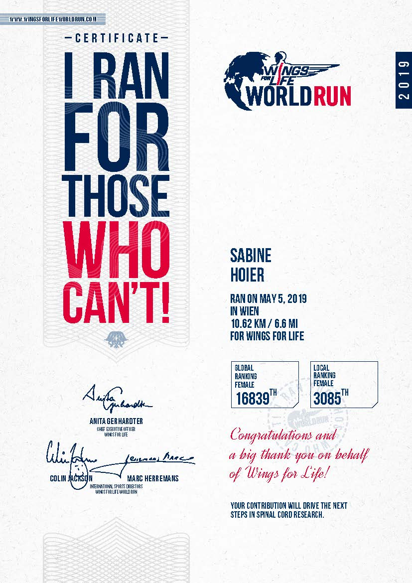 Sabine's Finisher Certificate