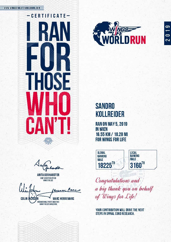 Sandro's Finisher Certificate